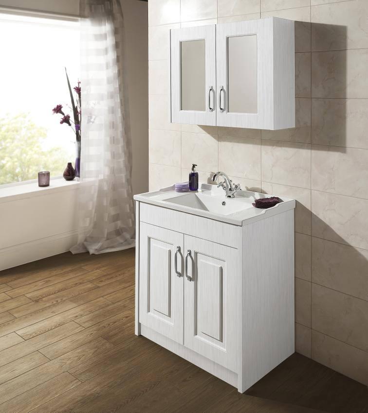 Lauren York Porcelain White Ash 800mm 2 Door Mirror Cabinet Olf115