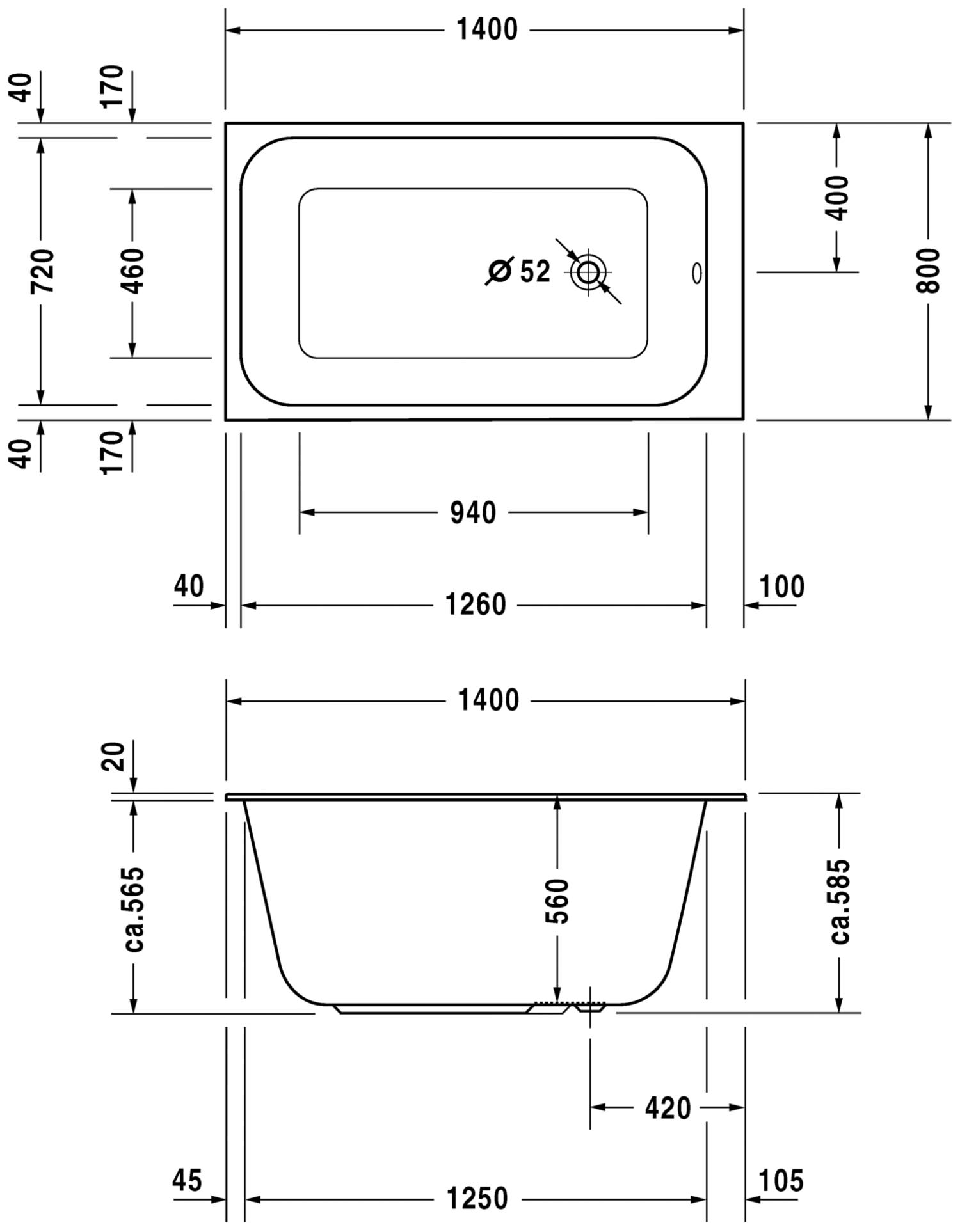 Duravit Durastyle 1400 X 800mm Rectangular Bath With Support Frame Technical Drawing Qs V52977 700237000000000