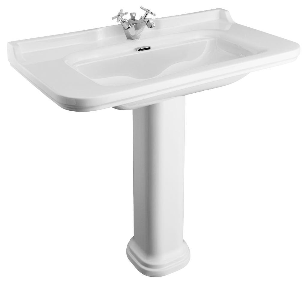 Bauhaus waldorf 1000mm 1 tap hole basin and pedestal wf1001scw