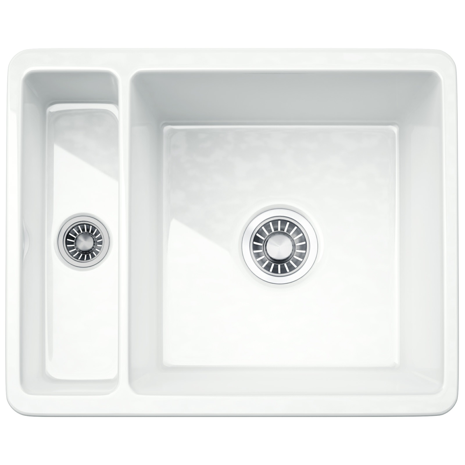 Franke Kubus KBK 160 Ceramic 1.5 Bowl Undermount Kitchen Sink ...