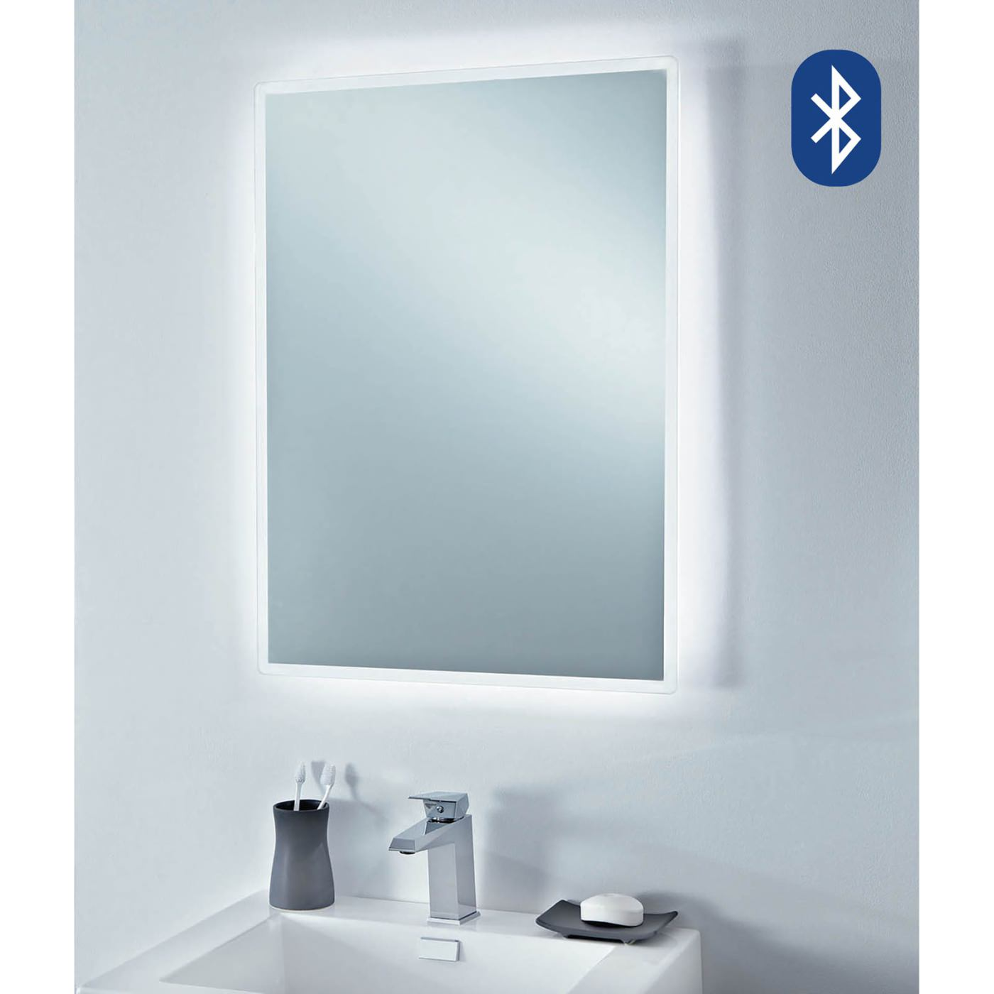 Phoenix 750mm play bluetooth music mirror with heated for Mirror video