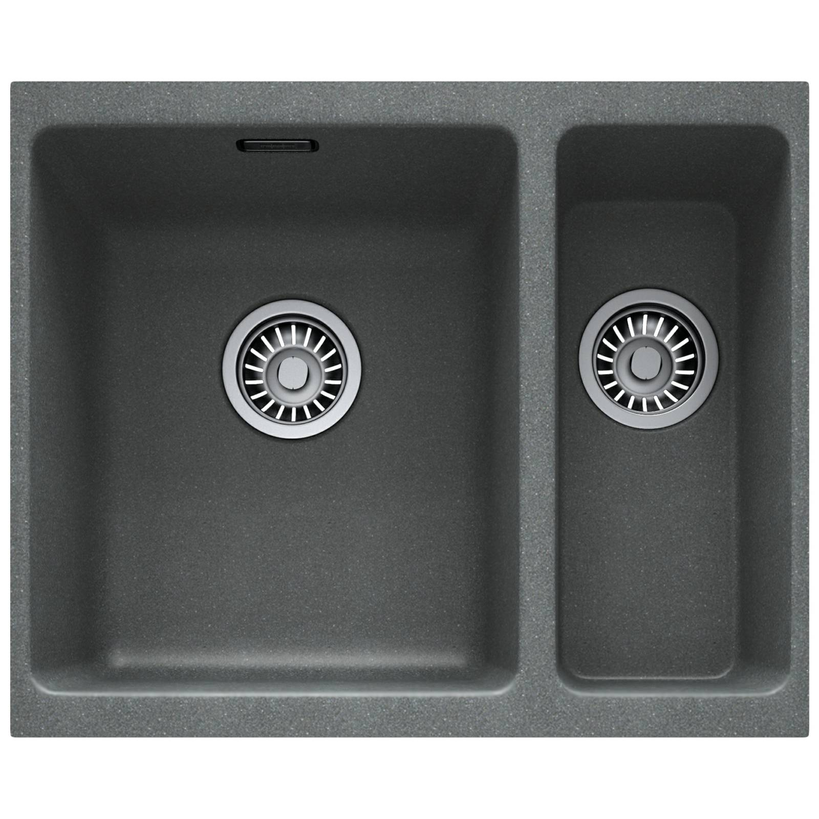 Franke Grey Sink : Franke Kubus KBG 160 Fragranite Stone Grey 1.5 Bowl Undermount Sink ...