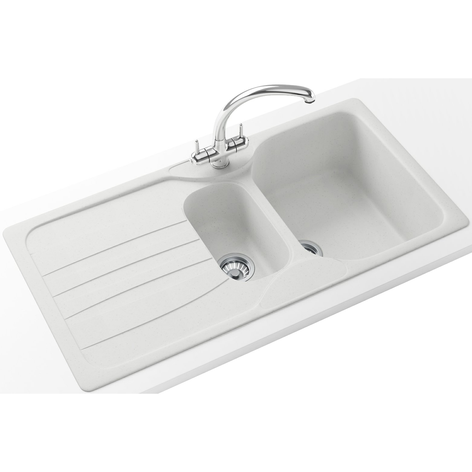 White Kitchen Taps: Franke Calypso Propack COG 651 Fragranite Polar White Sink