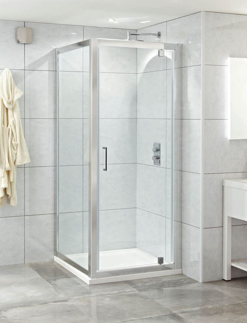 Phoenix Spirit 900mm Clean Glass Single Pivot Shower Door