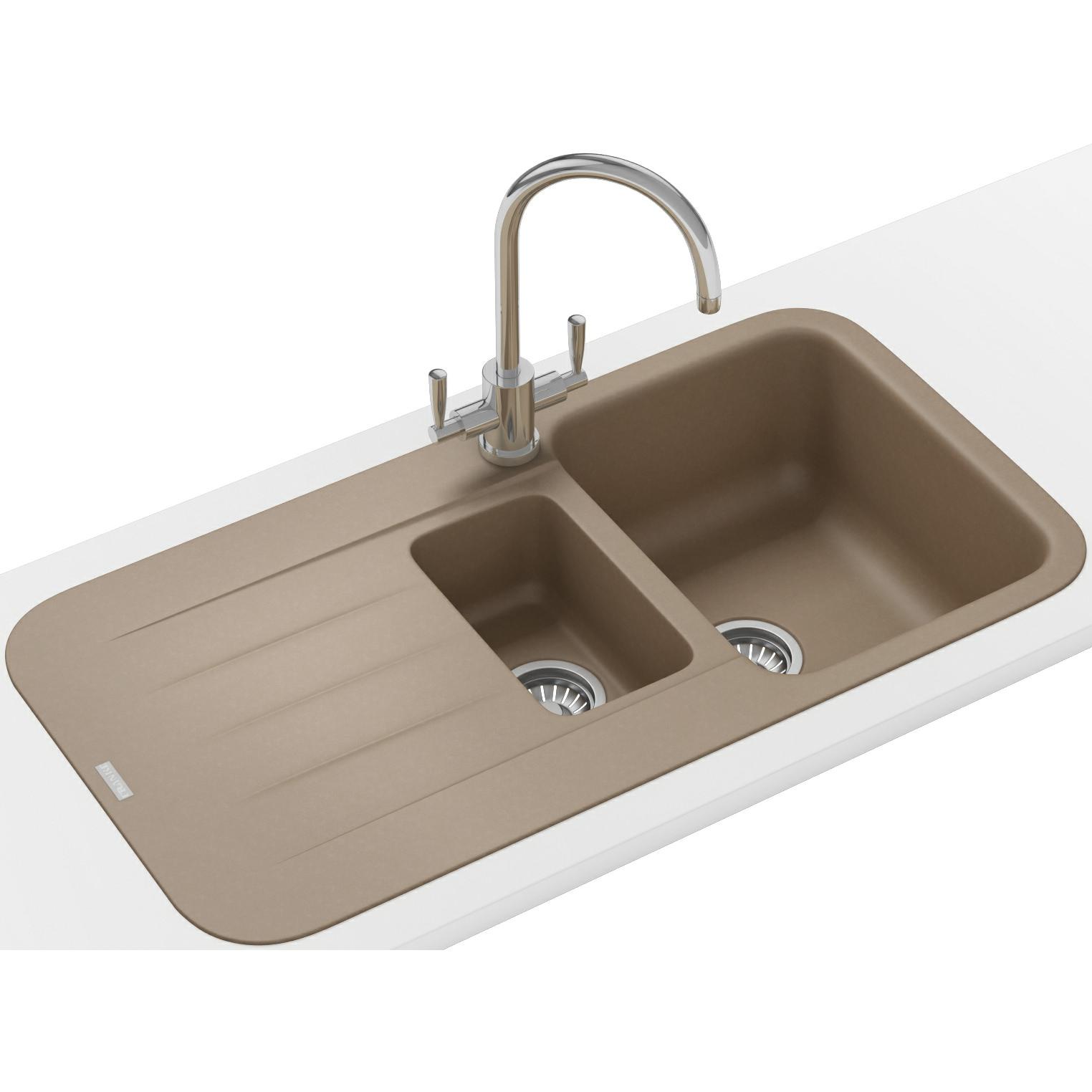 Fitting Franke Sink : Franke Pebel PBG 651 Fragranite Oyster 1.5 Bowl Inset Sink 114.0312 ...