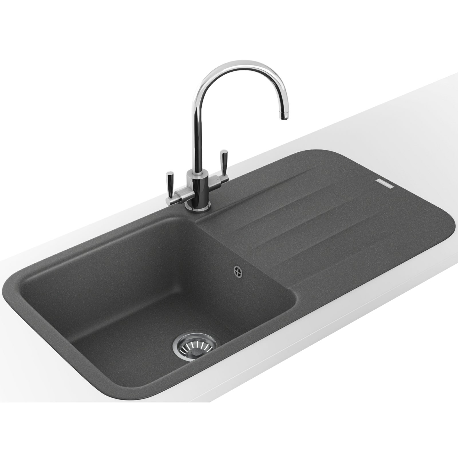 Franke Grey Sink : Franke Pebel DP PBG 611-970 Fragranite Stone Grey Inset Sink And Tap ...