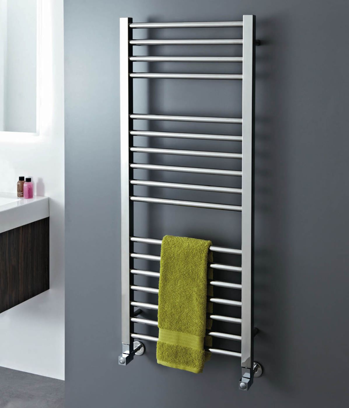 Stainless Steel Electric Radiator Towel Rail: Phoenix Roscoe 500 X 800mm Polished Stainless Steel