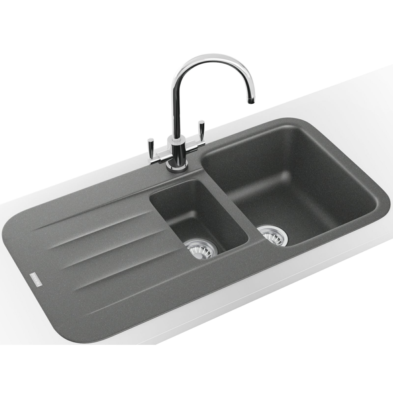 Franke Grey Sink : Franke Pebel DP PBG 651 Fragranite Stone Grey Inset Sink And Tap 114 ...