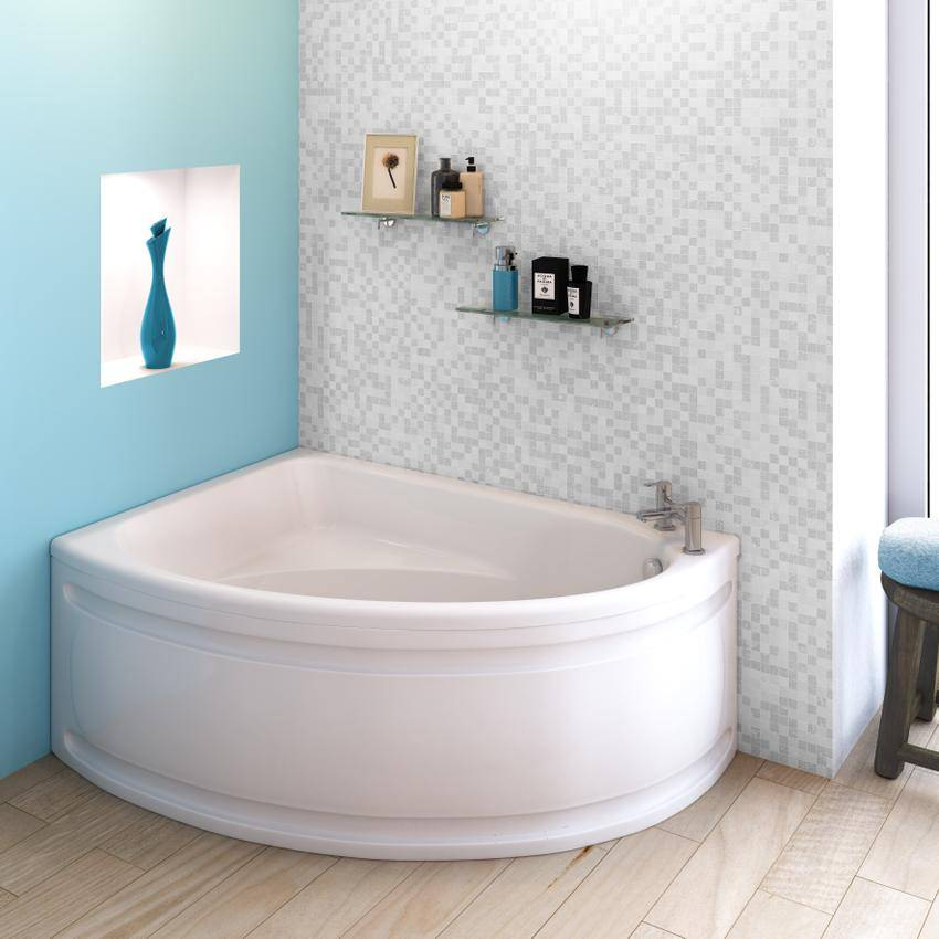 Beo Melody Off Set Corner Shower Bath And Panel Left Hand