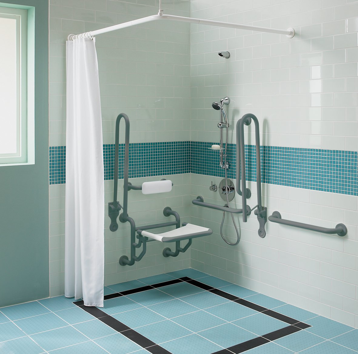 Twyford Doc M Shower Pack With Grey Grab Rails And Seat