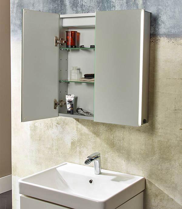 Tavistock sleek 600mm double door mirror cabinet with led lighting for Double door mirrored bathroom cabinet