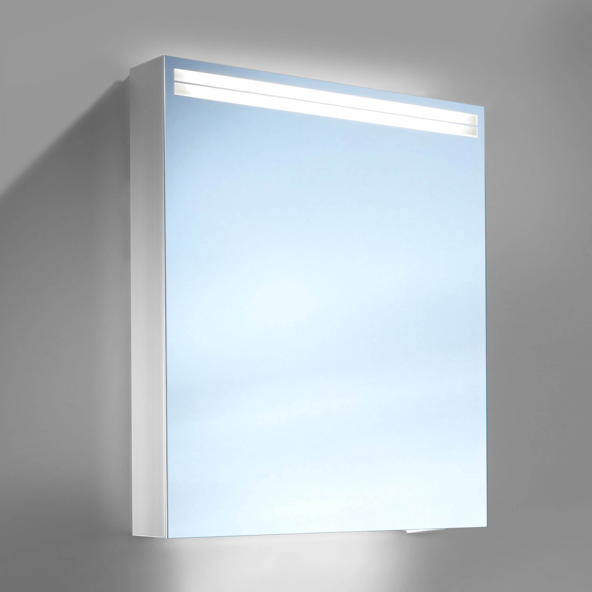 Schneider arangaline 500mm 1 door mirror cabinet with led for Bathroom cabinets led
