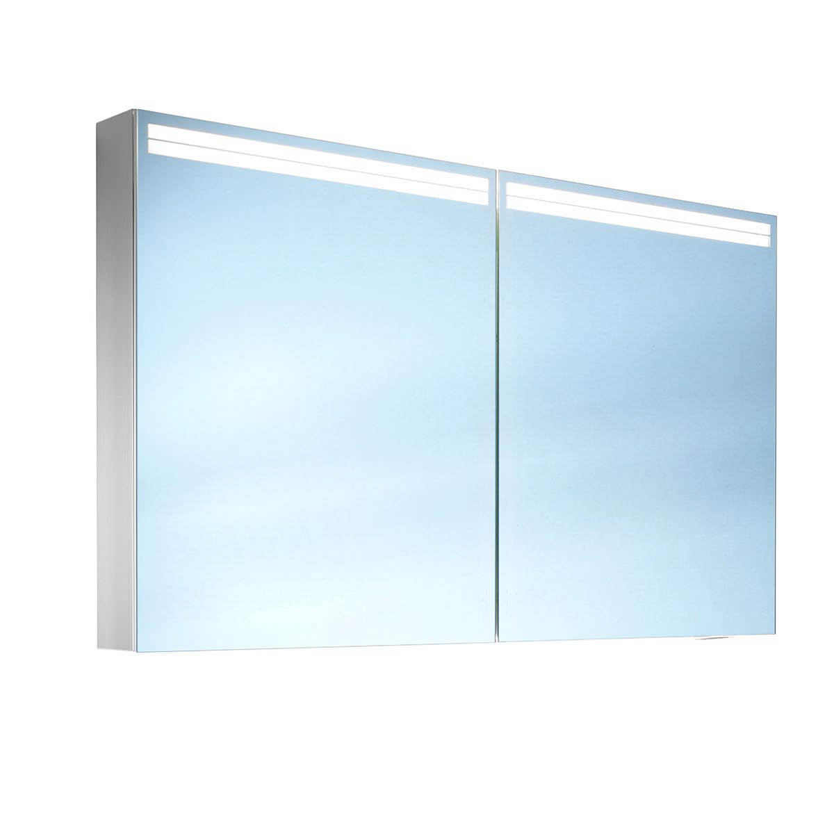 Schneider arangaline 2 door mirror cabinet 1200mm for Mirrored cabinet doors