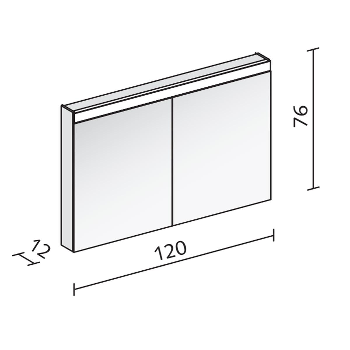 Schneider pataline 2 door led mirror cabinet 1200mm for Bathroom cabinets 1200mm wide
