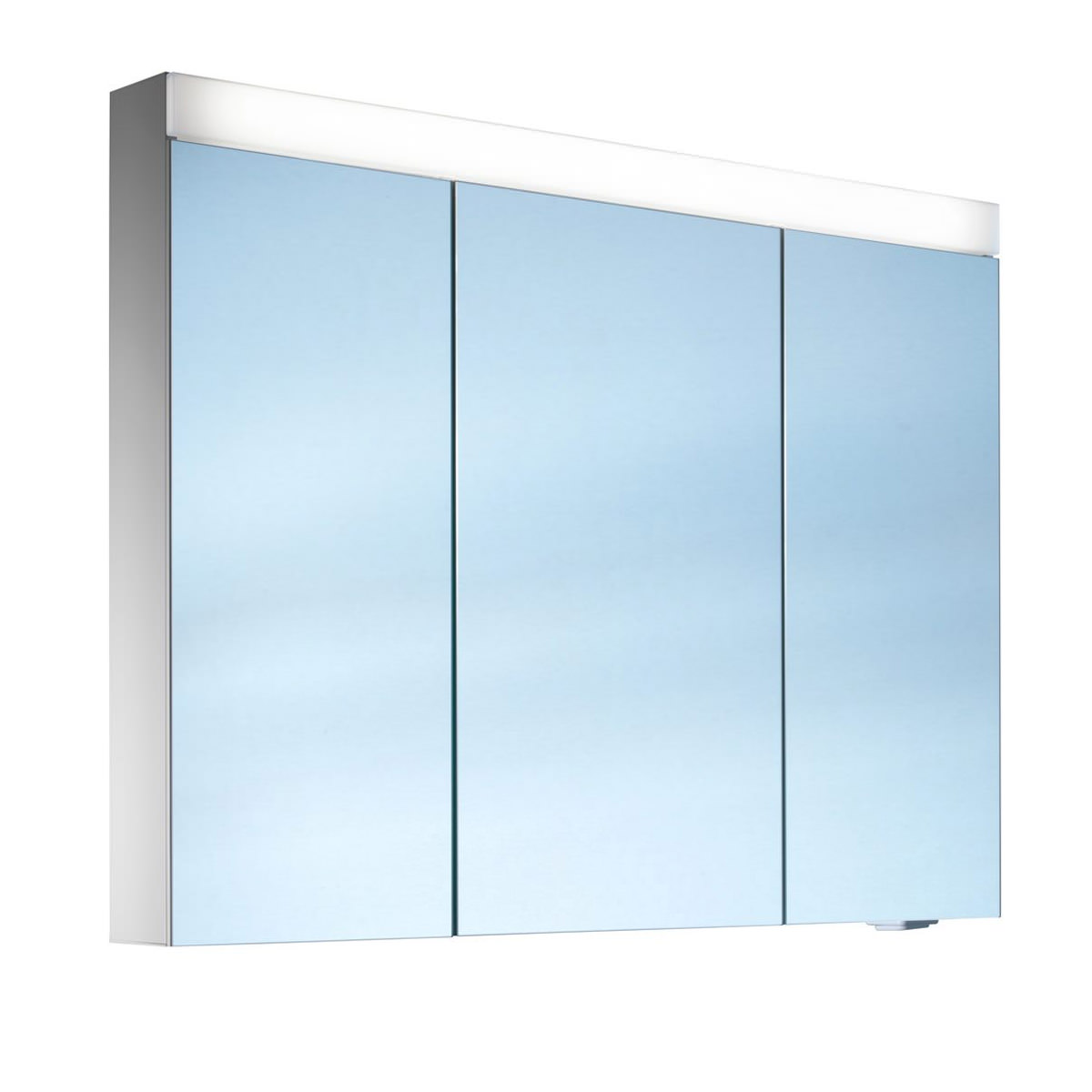 Schneider pataline 3 door led mirror cabinet 1000mm for Bathroom cabinets led