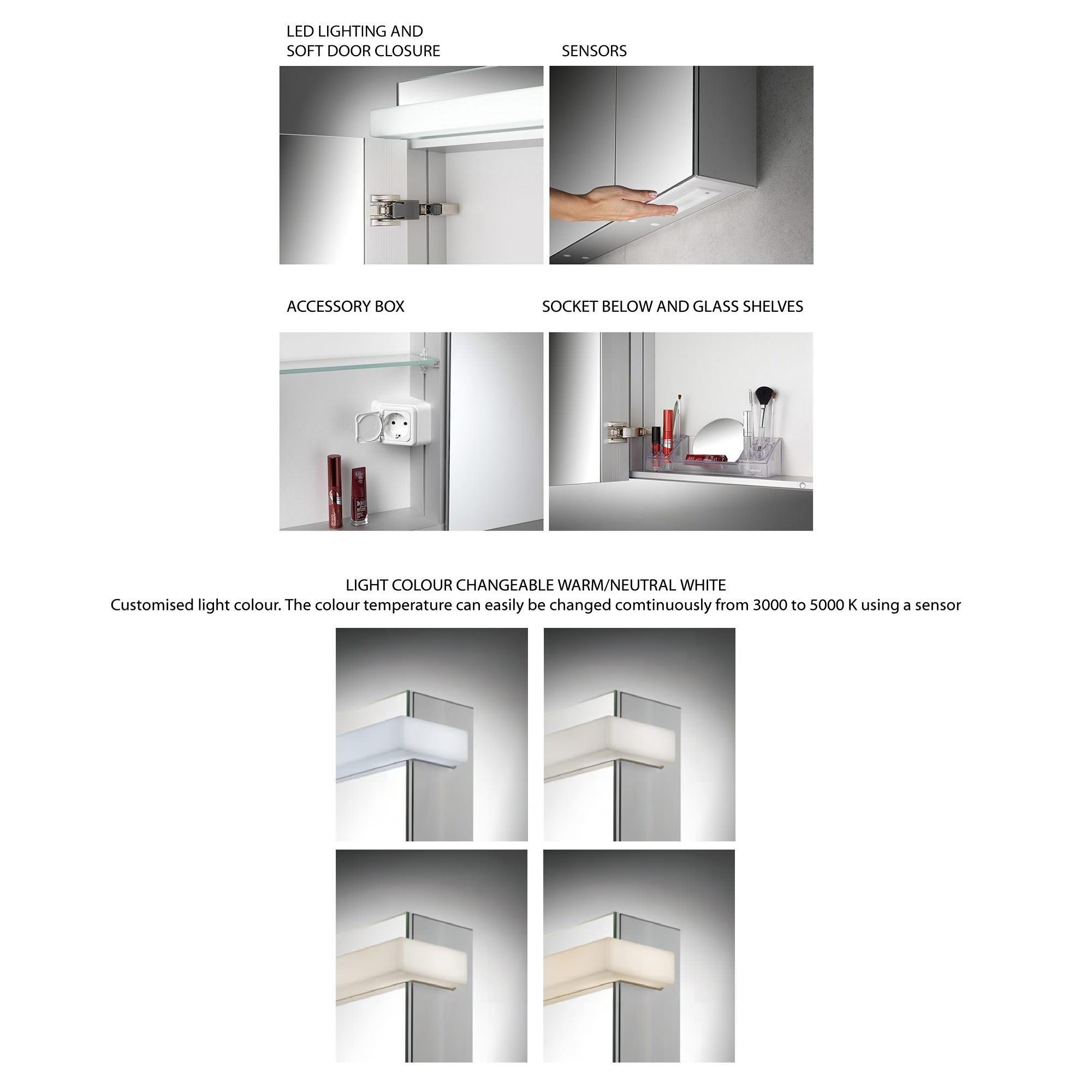 Schneider taikaline 2 door 785mm high mirror cabinet for Bathroom cabinets 700mm