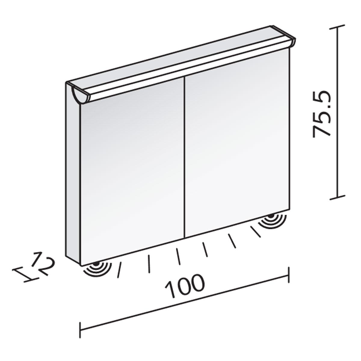 Schneider FaceLine 2 Door Illuminated Mirror Cabinet 1000mm