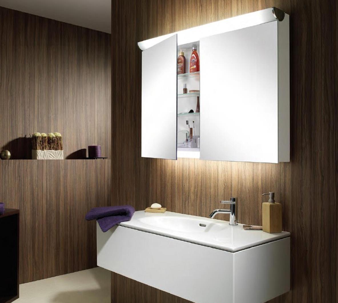 Schneider faceline 2 door illuminated mirror cabinet 1200mm for Bathroom cabinets 1200mm wide
