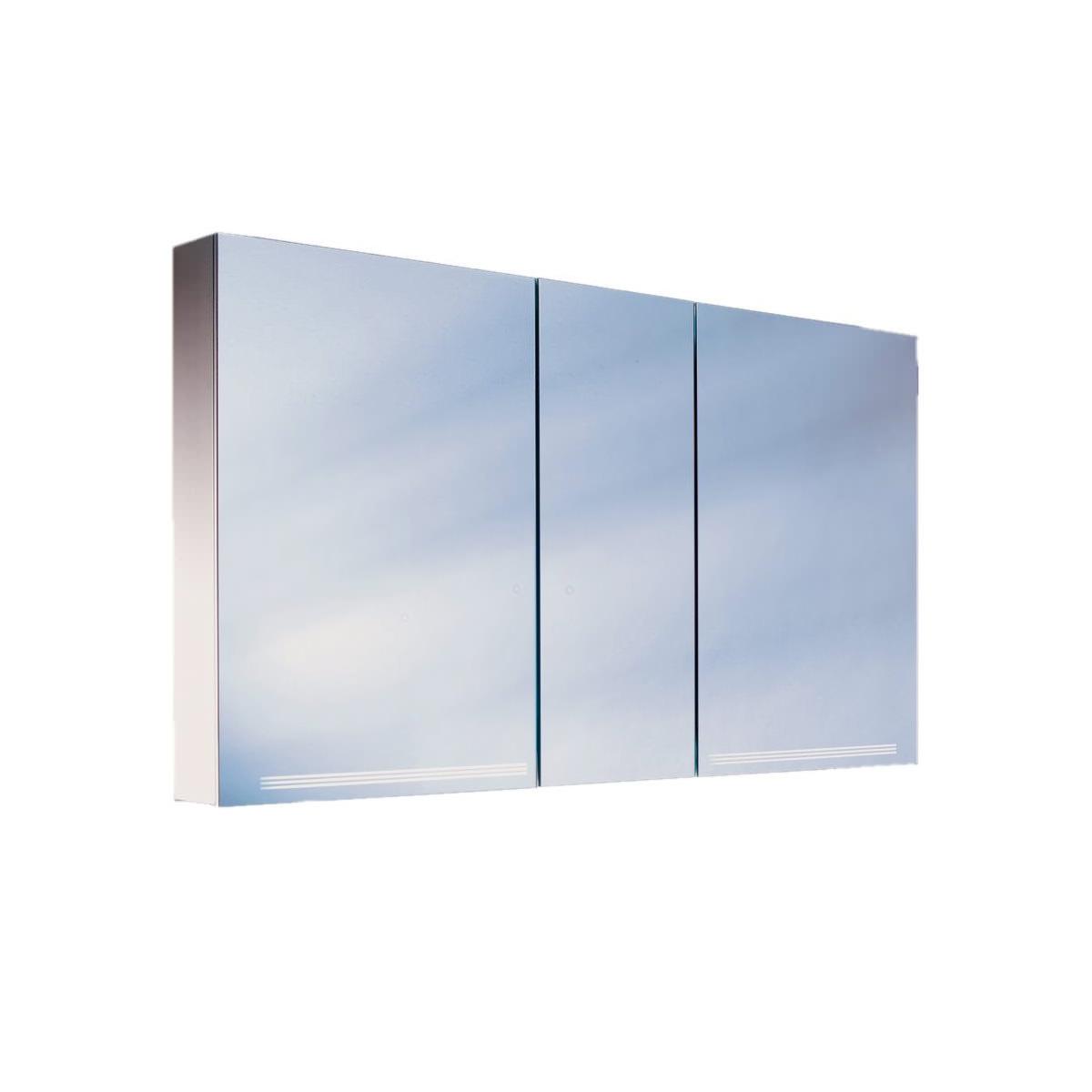 Schneider graceline 3 door 1300mm mirror cabinet with led for Big door mirror