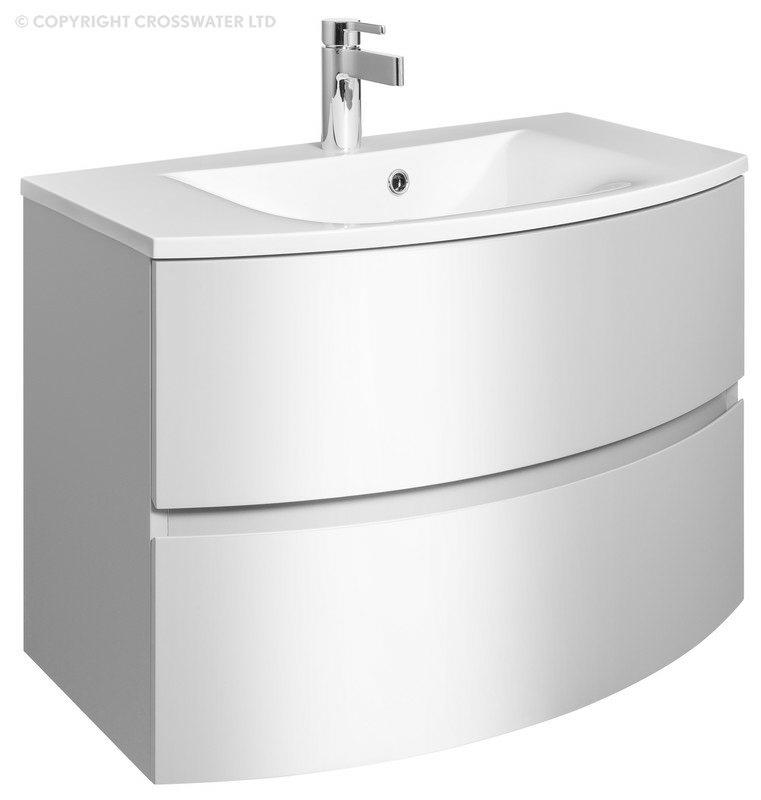 Bauhaus Svelte 800mm Wall Hung Vanity Unit White Gloss And