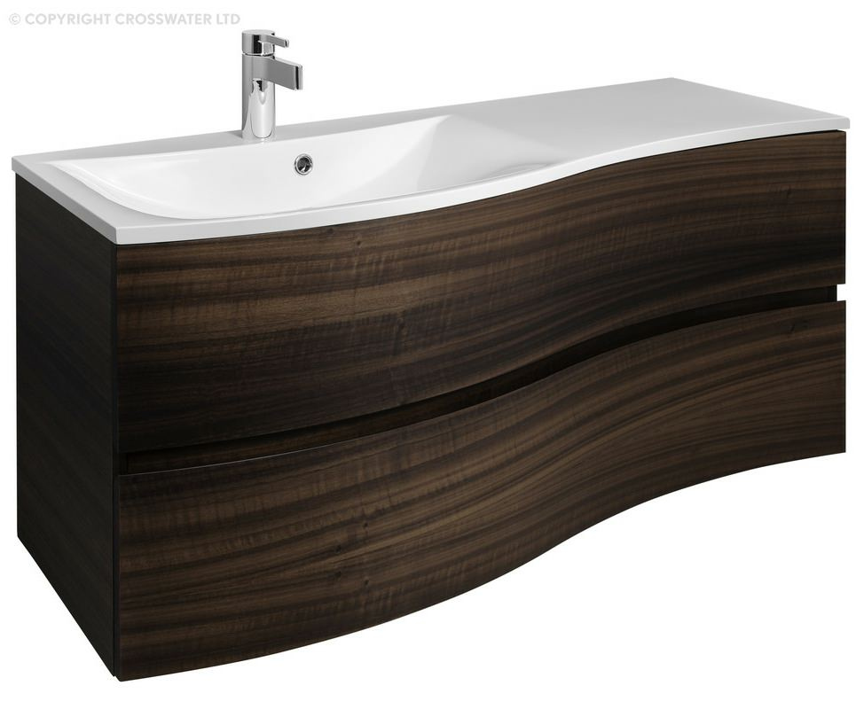 Sink bowl bathroom - Bauhaus Svelte 1200mm Eucalyptus Wall Hung Vanity Unit And