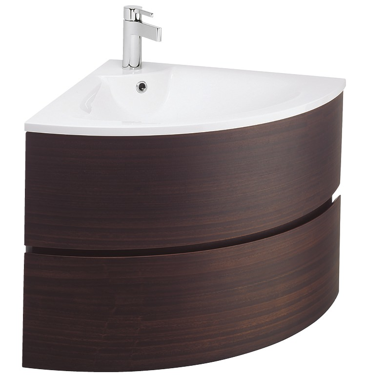 Curved bathroom units - Bauhaus Svelte Eucalyptus Corner Vanity Unit And Basin