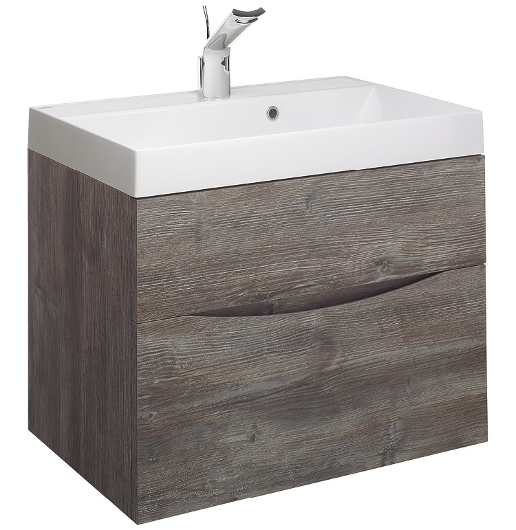 Bauhaus glide ii 700mm driftwood double drawer vanity unit for Bathroom furniture 700mm