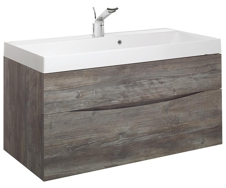 Bauhaus glide ii 1000mm driftwood double drawer vanity for 1000mm kitchen drawer unit