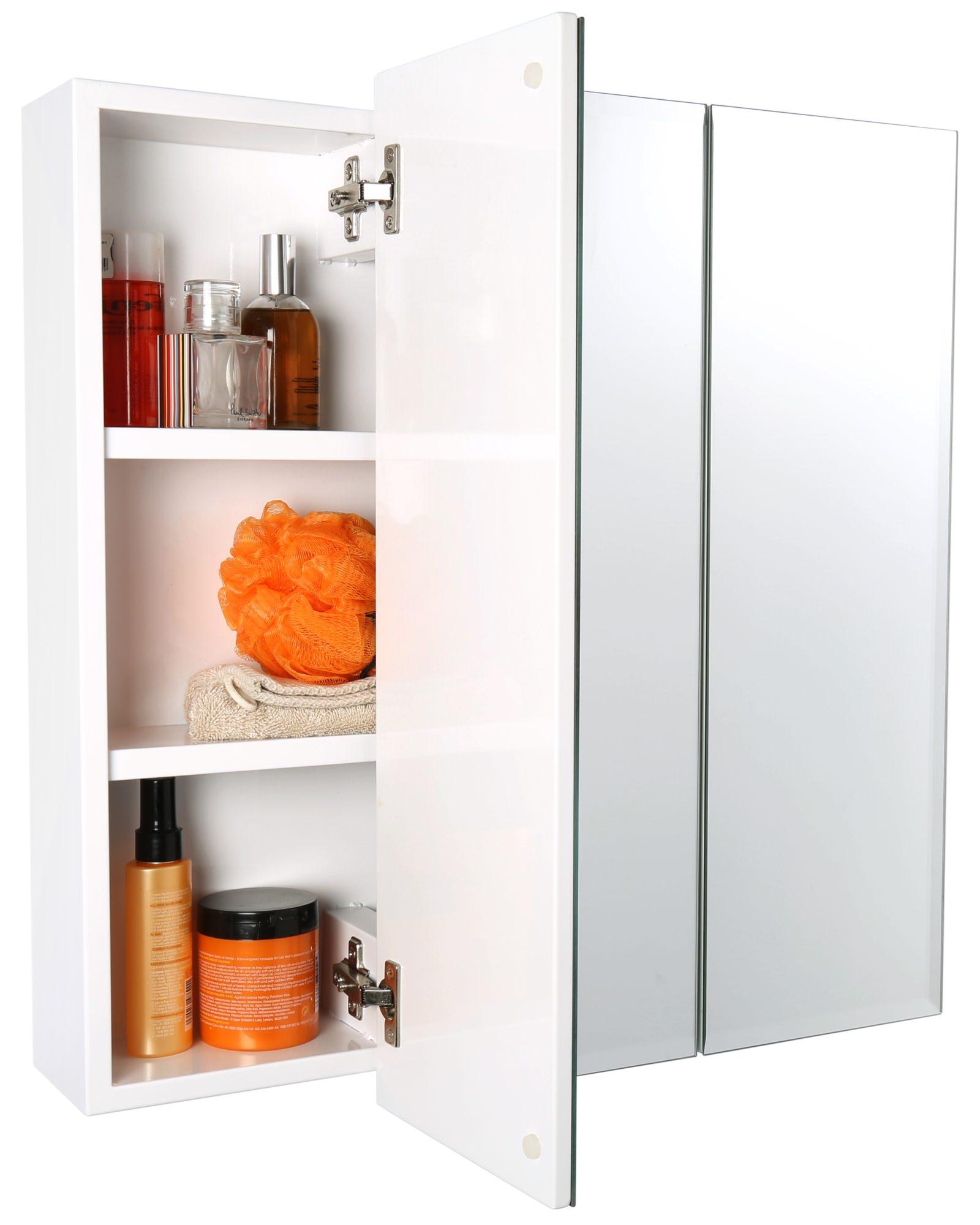 croydex lymington triple door tri view white steel cabinet