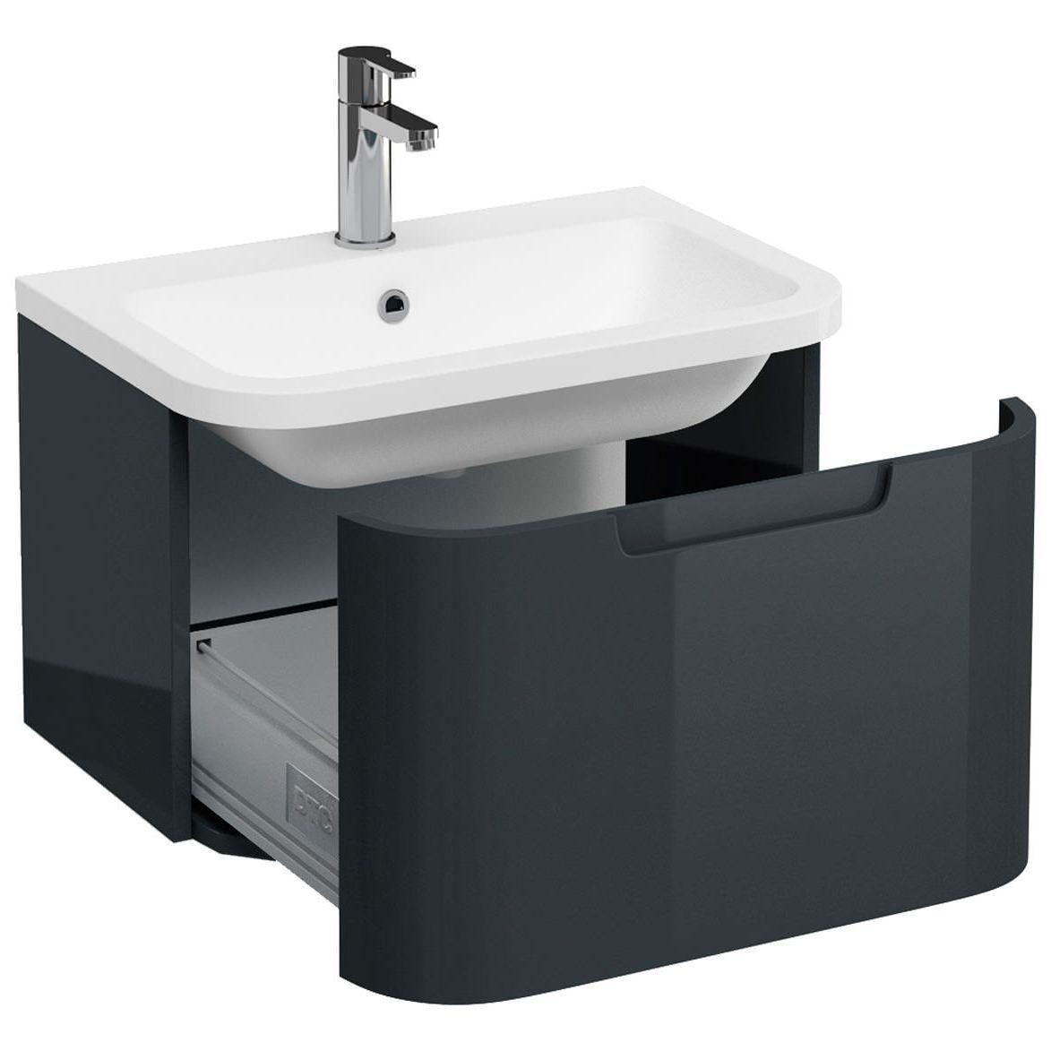 Britton Aqua Cabinets Compact White 600mm 1 Drawer Wall