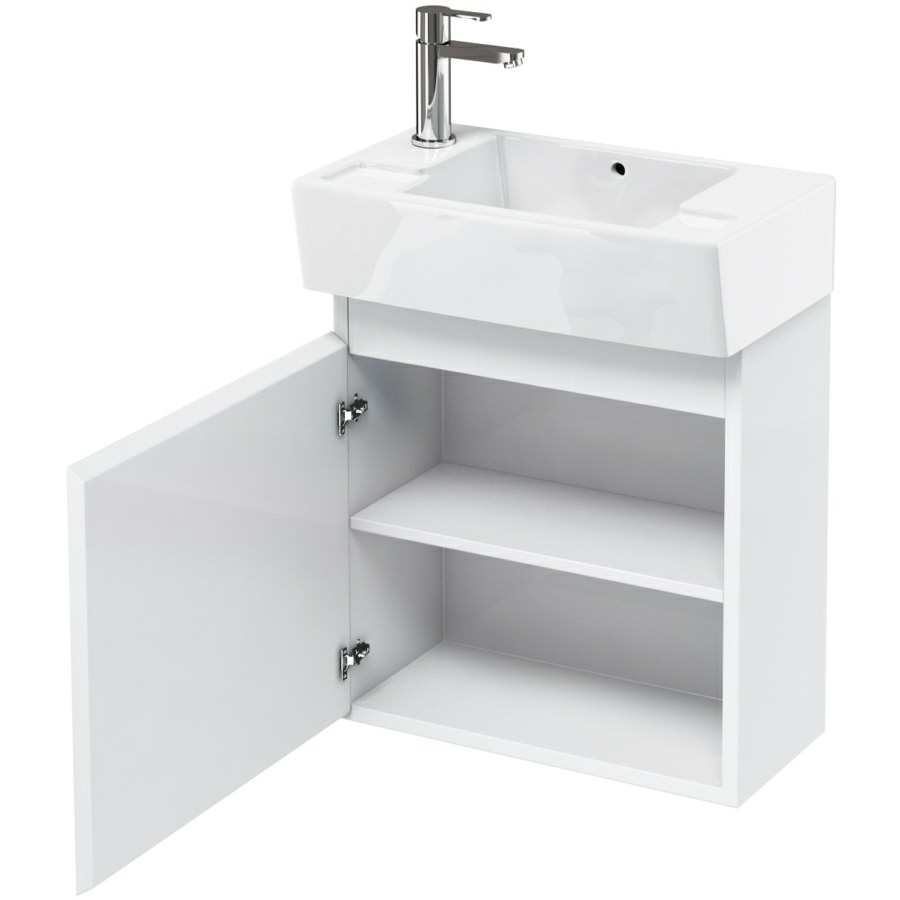 ... Aqua Cabinets Compact 305 Wall Hung Unit And LH Cloakroom Basin R30W