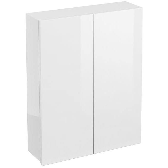 Britton Aqua Cabinets White 600mm Double Door Wall Mounted