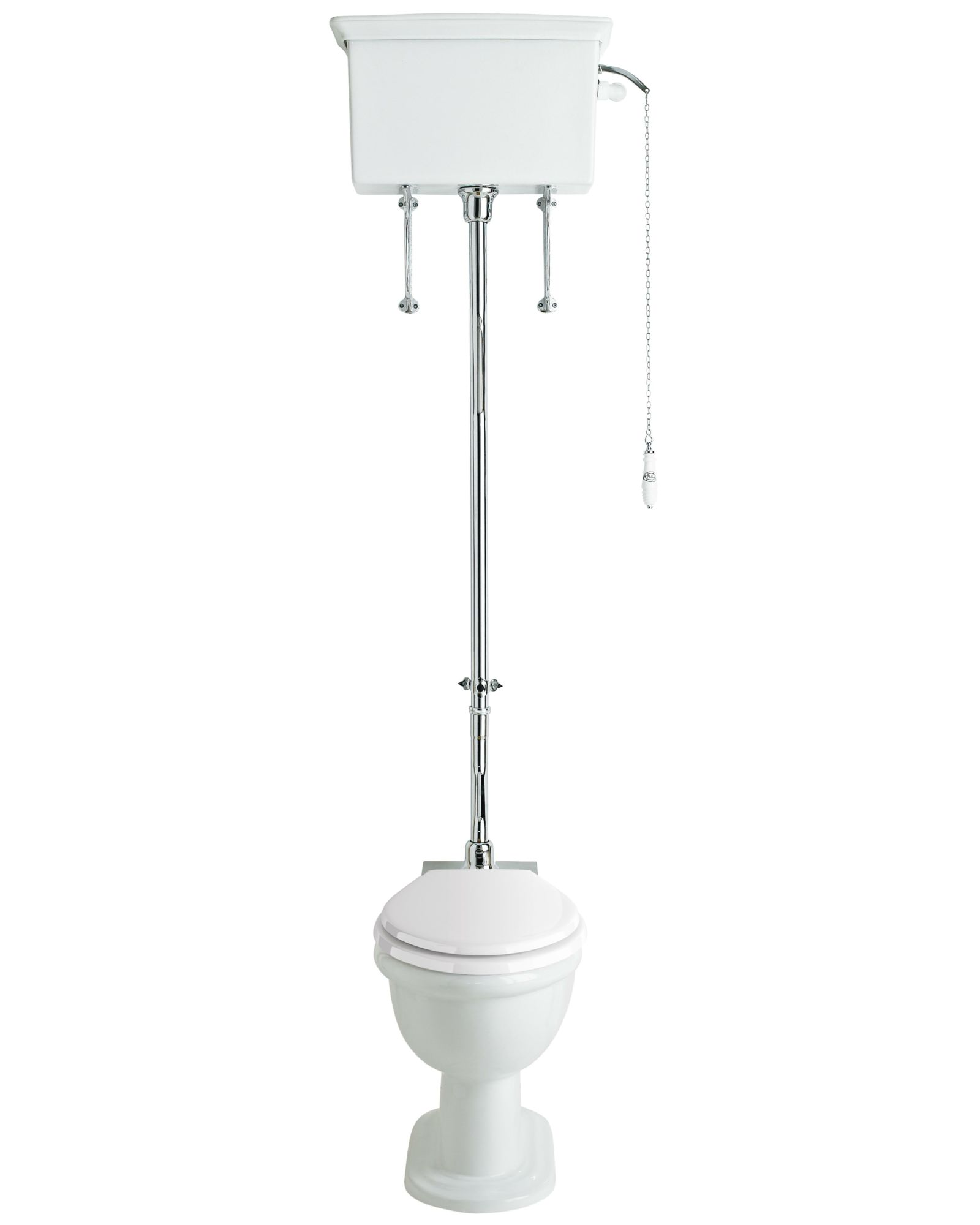 Victorian traditional ceramic /& chrome flush pull for high level cistern