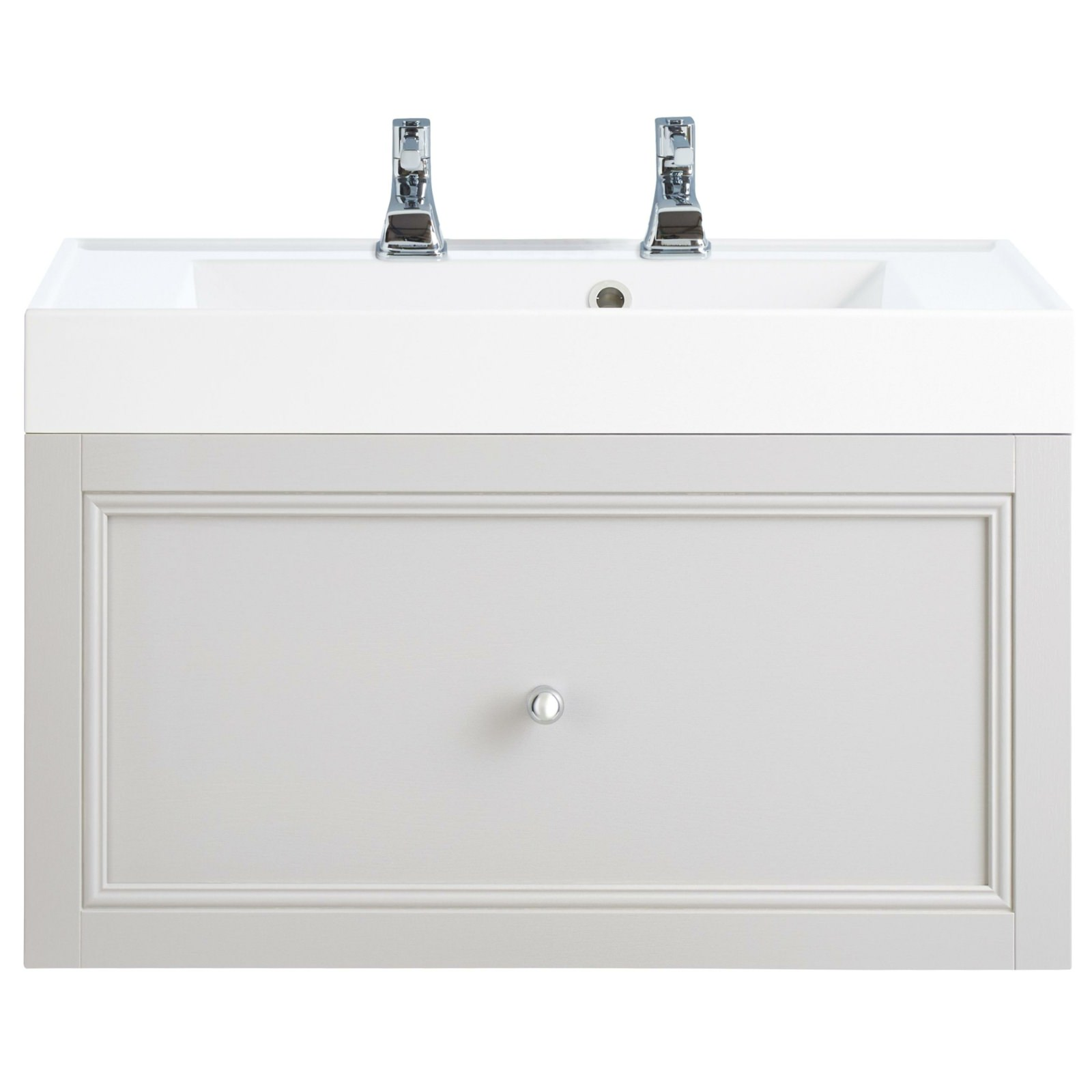 Heritage Bathroom Vanity: Heritage Caversham White Ash 700mm 1 Drawer Wall Hung