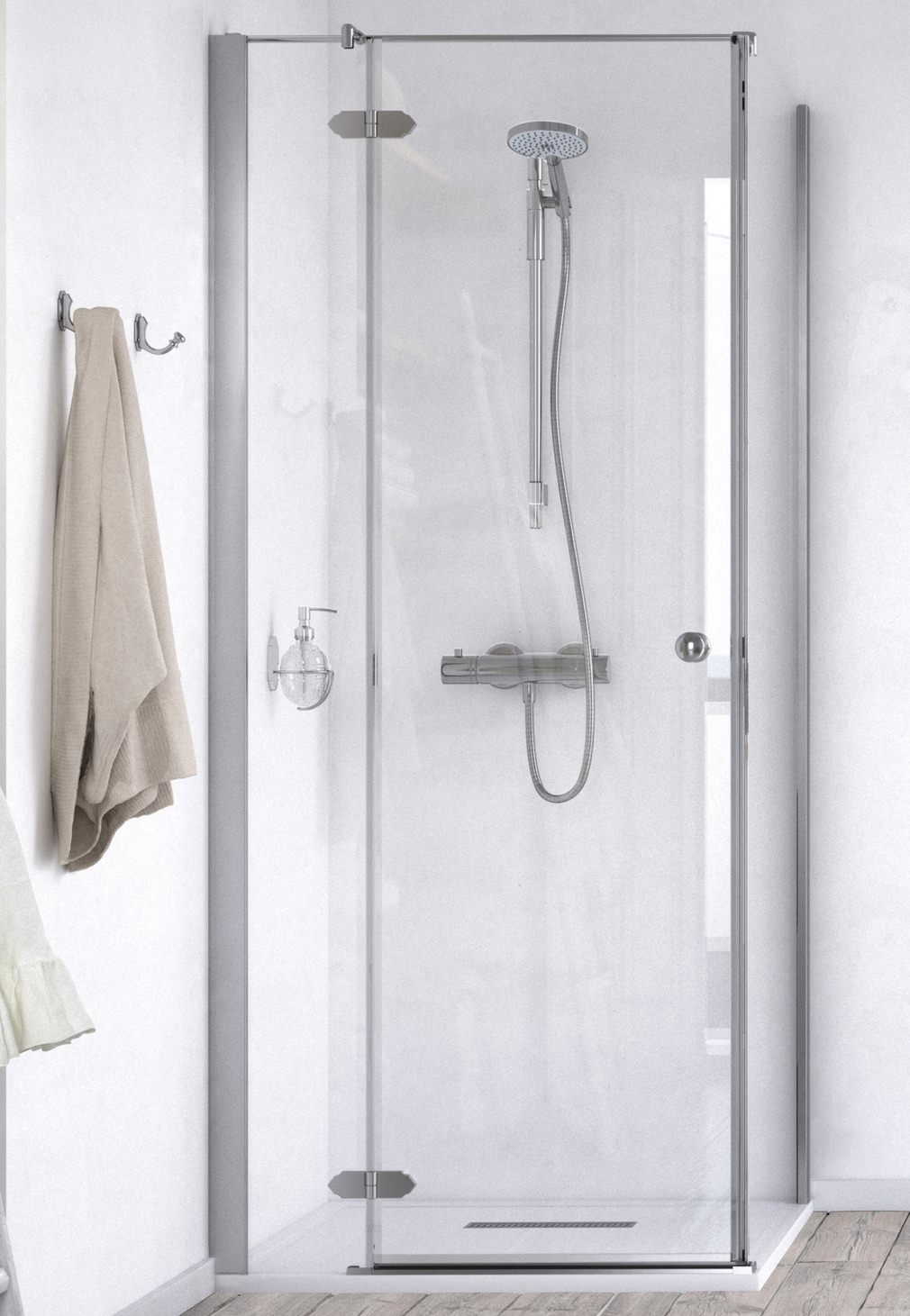 Aqualux id match time 1000 x 1000mm hinged door with side for 1000mm hinged shower door