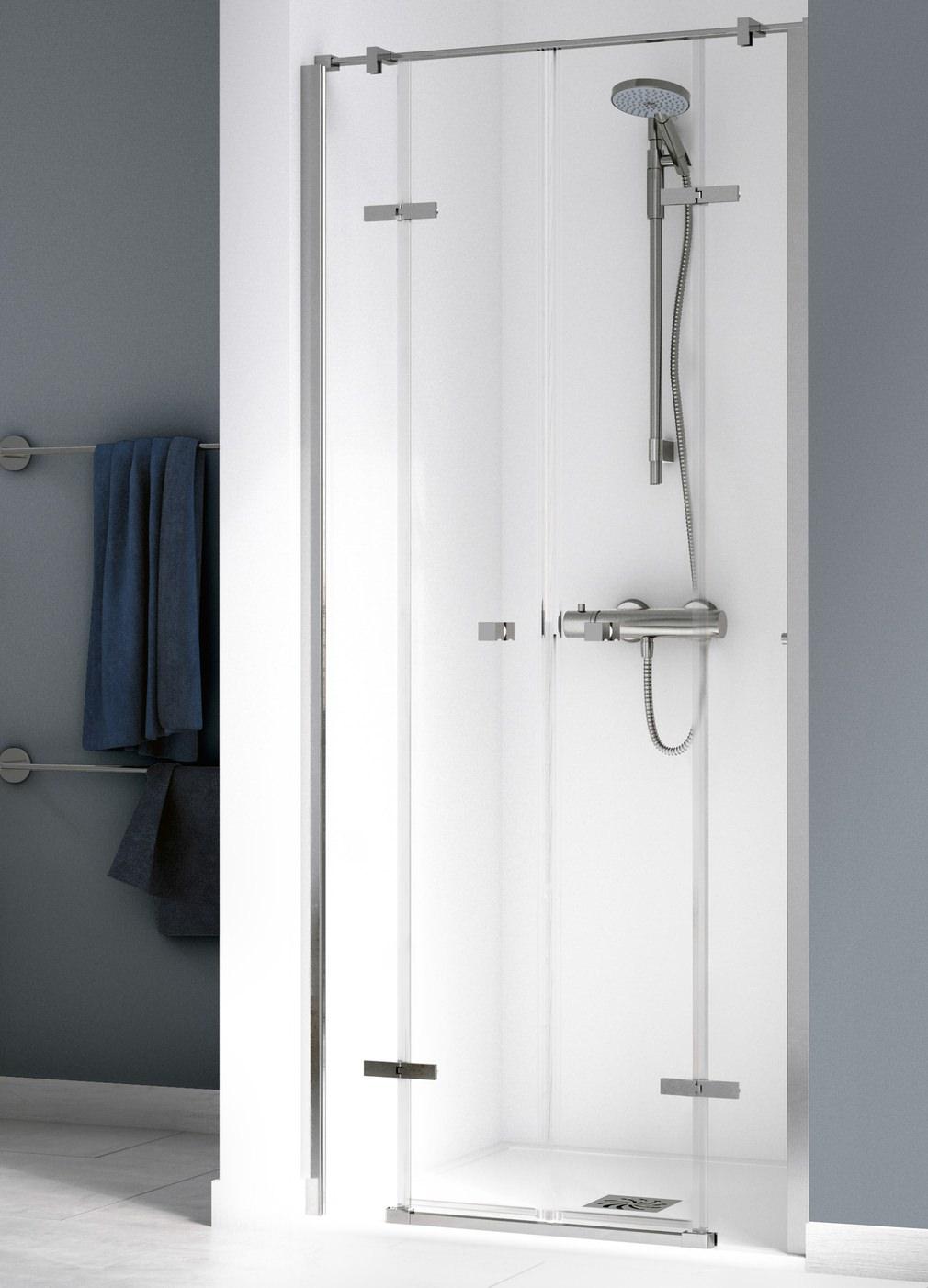 Aqualux Origin 1000mm Recess Saloon Door With 2 Fixed Panels 1191456