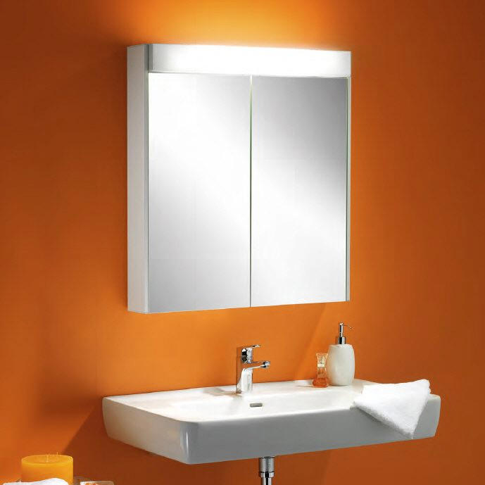 schneider moanaline 2 door 700mm mirror cabinet with overhead light