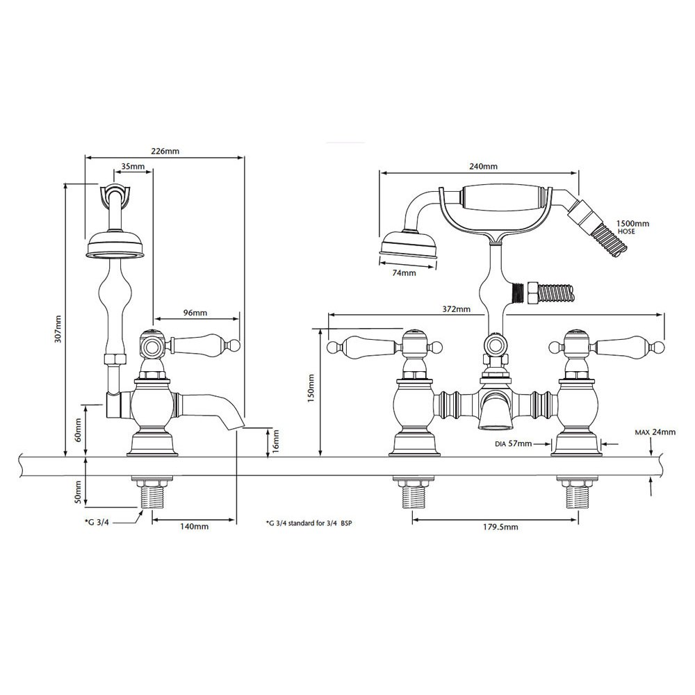 Bristan Value Club Sink Mixer 240mm White - Heritage glastonbury chrome bath shower mixer tap with white levers technical drawing qs v54893 tgrc02