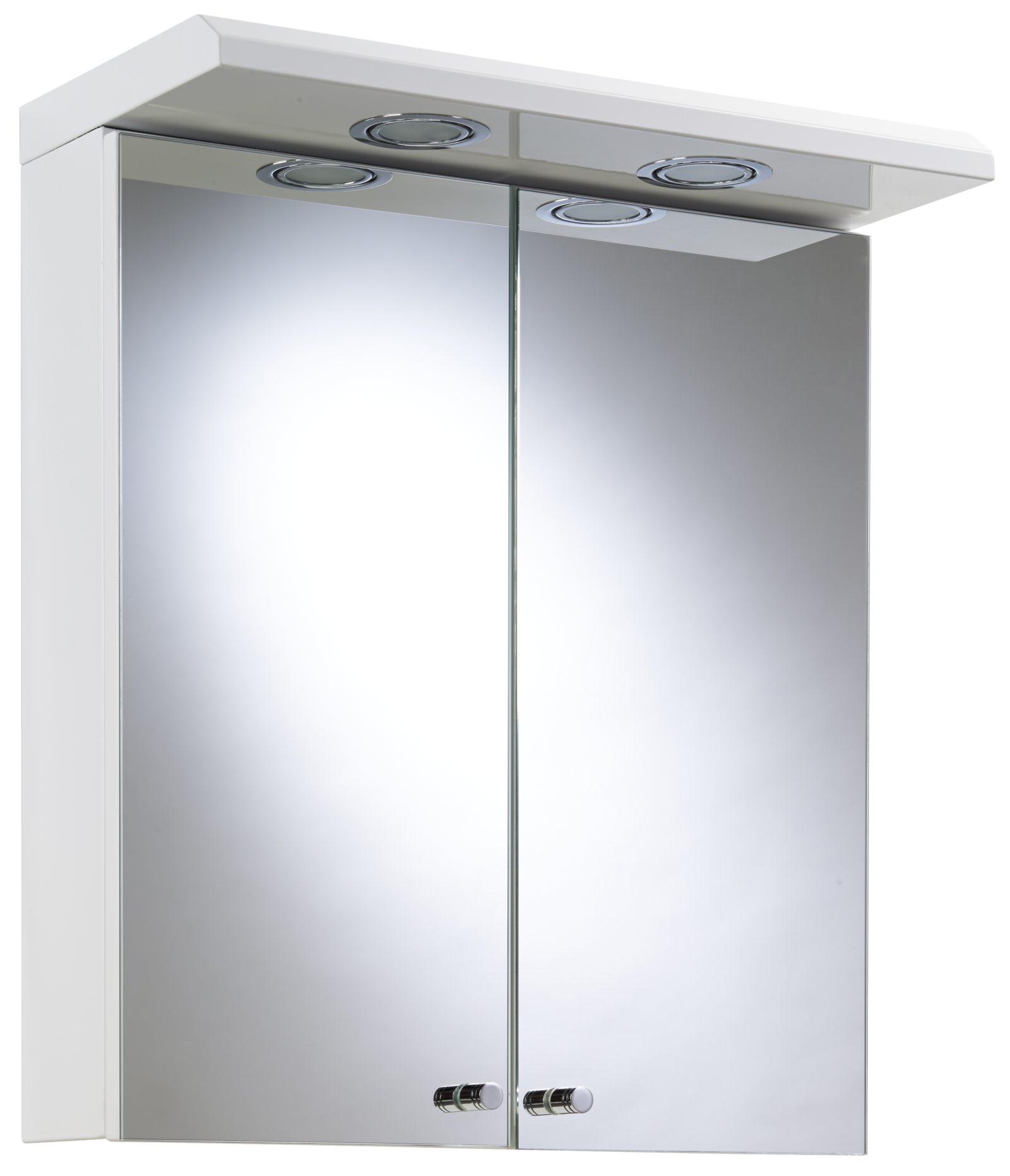 croydex shire white double door illuminated cabinet 450 x