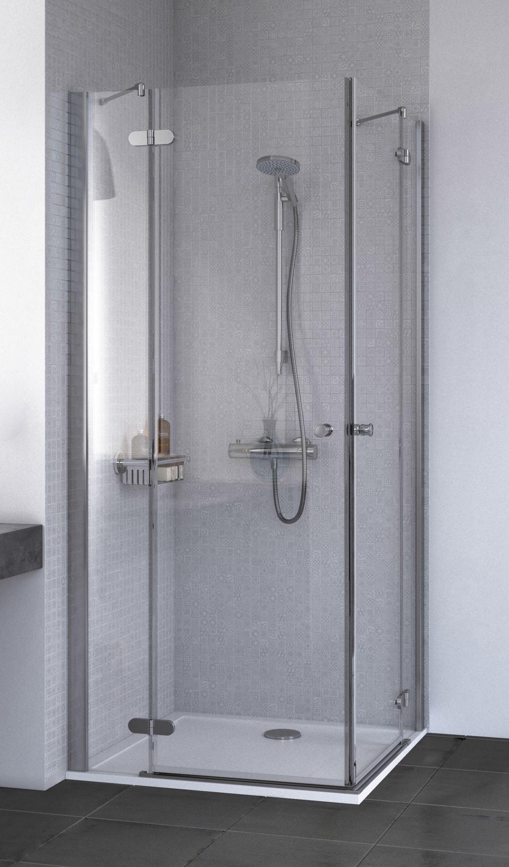 Aqualux Id Match Round 900 X 900mm Corner Entry Shower