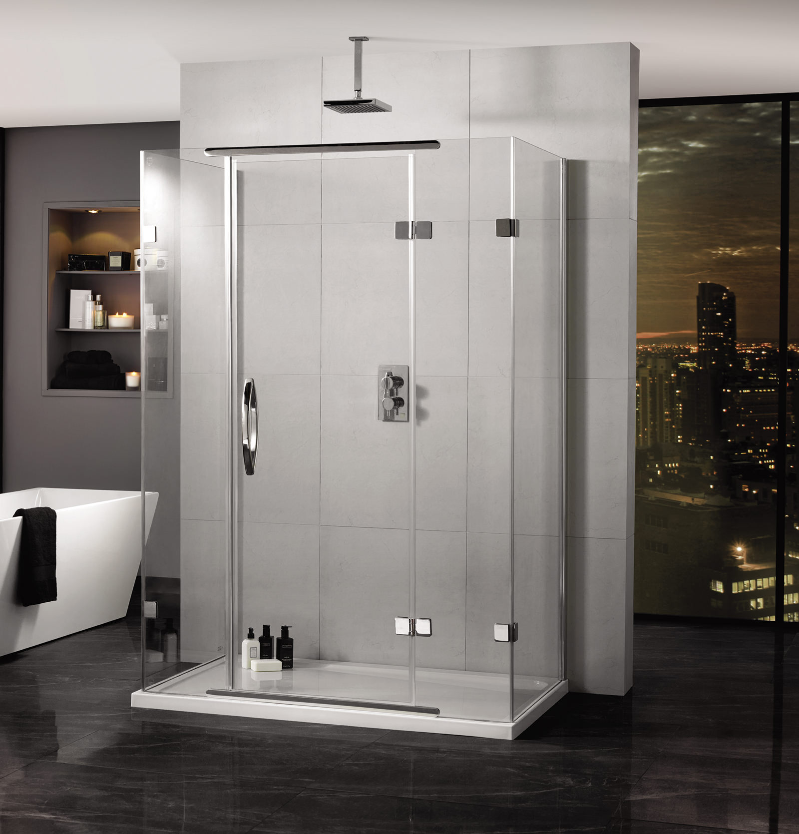 Aquadart Inline 900 X 800mm 3 Sided Hinged Door And Side