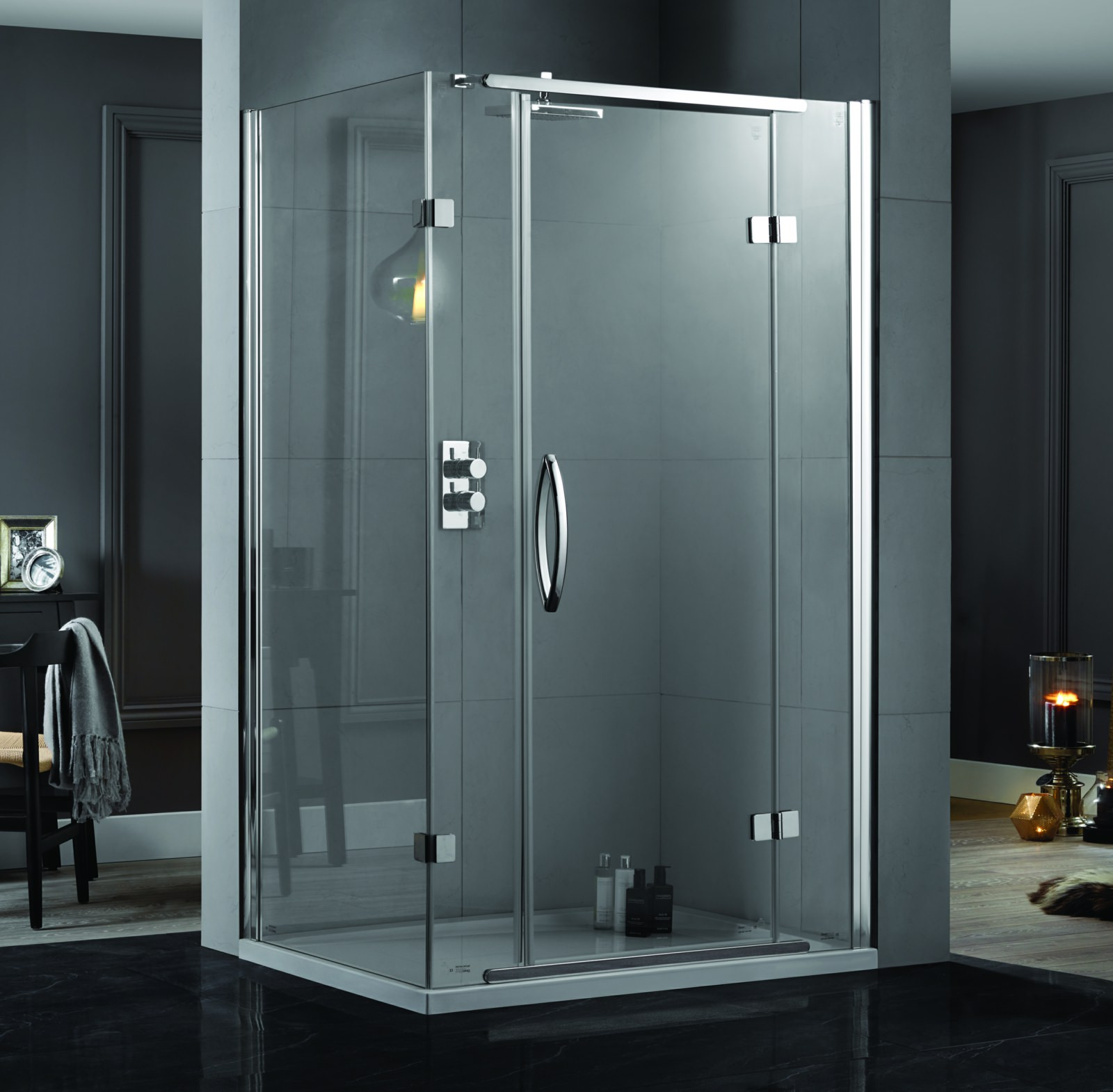 Aquadart Inline 1200 X 900mm 2 Sided Hinged Shower Door