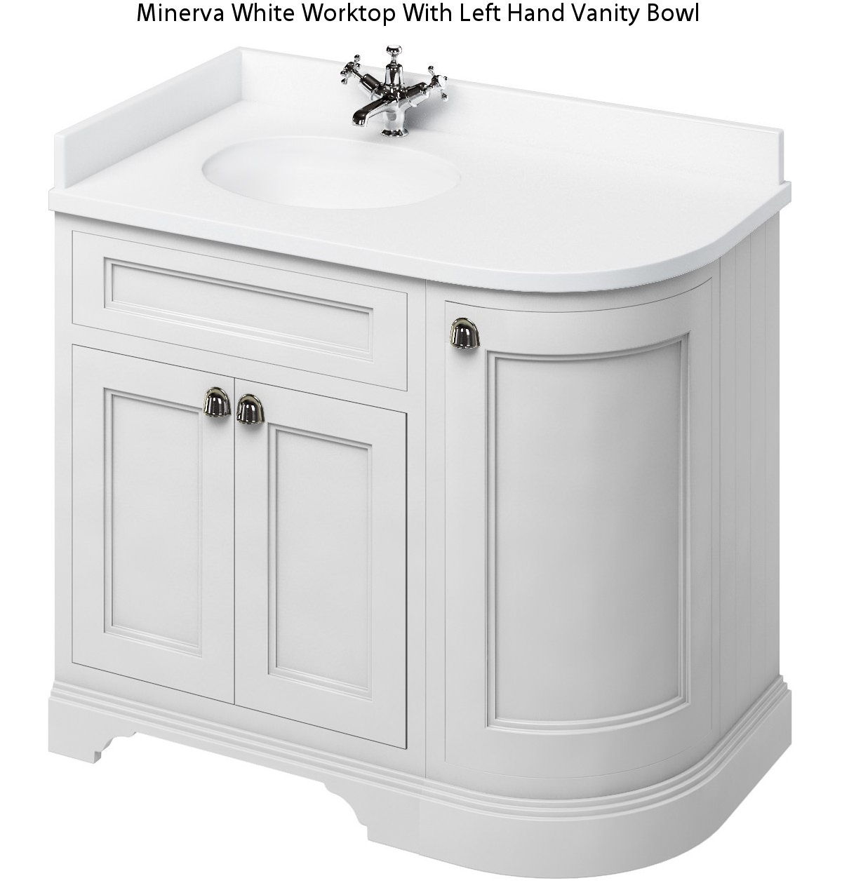 Burlington Corner Sink : Burlington 1000mm Matt White LH Curved Corner Unit With Worktop And ...