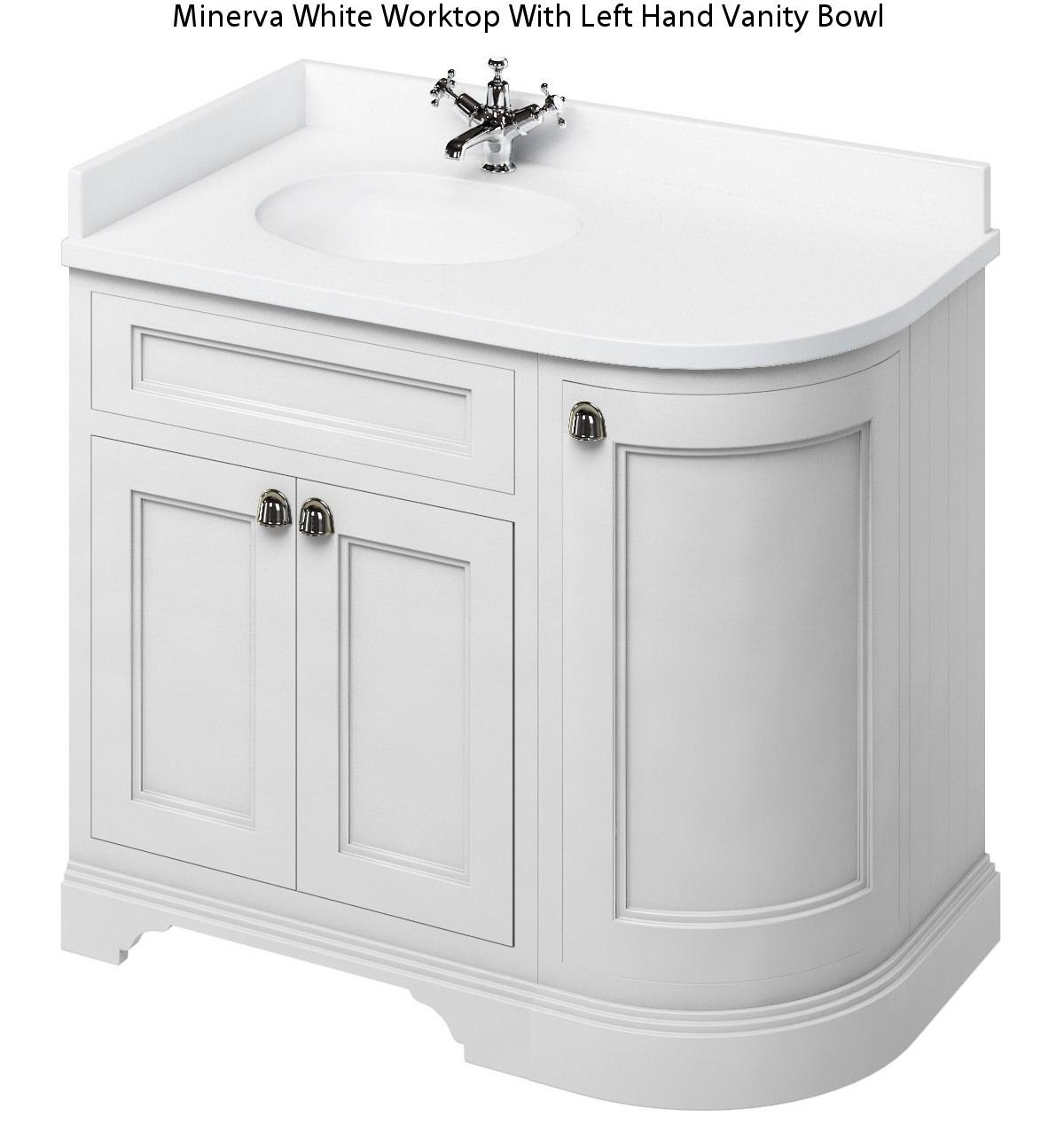 burlington 1000mm matt white lh curved corner unit with worktop and