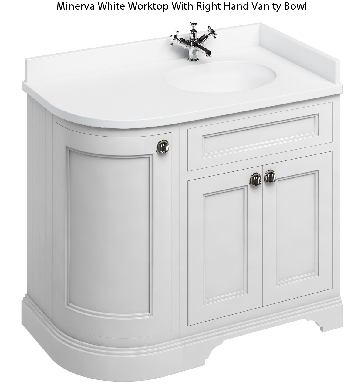Burlington Corner Sink : Burlington Freestanding 1000mm Matt White Right Hand Curved Vanity ...