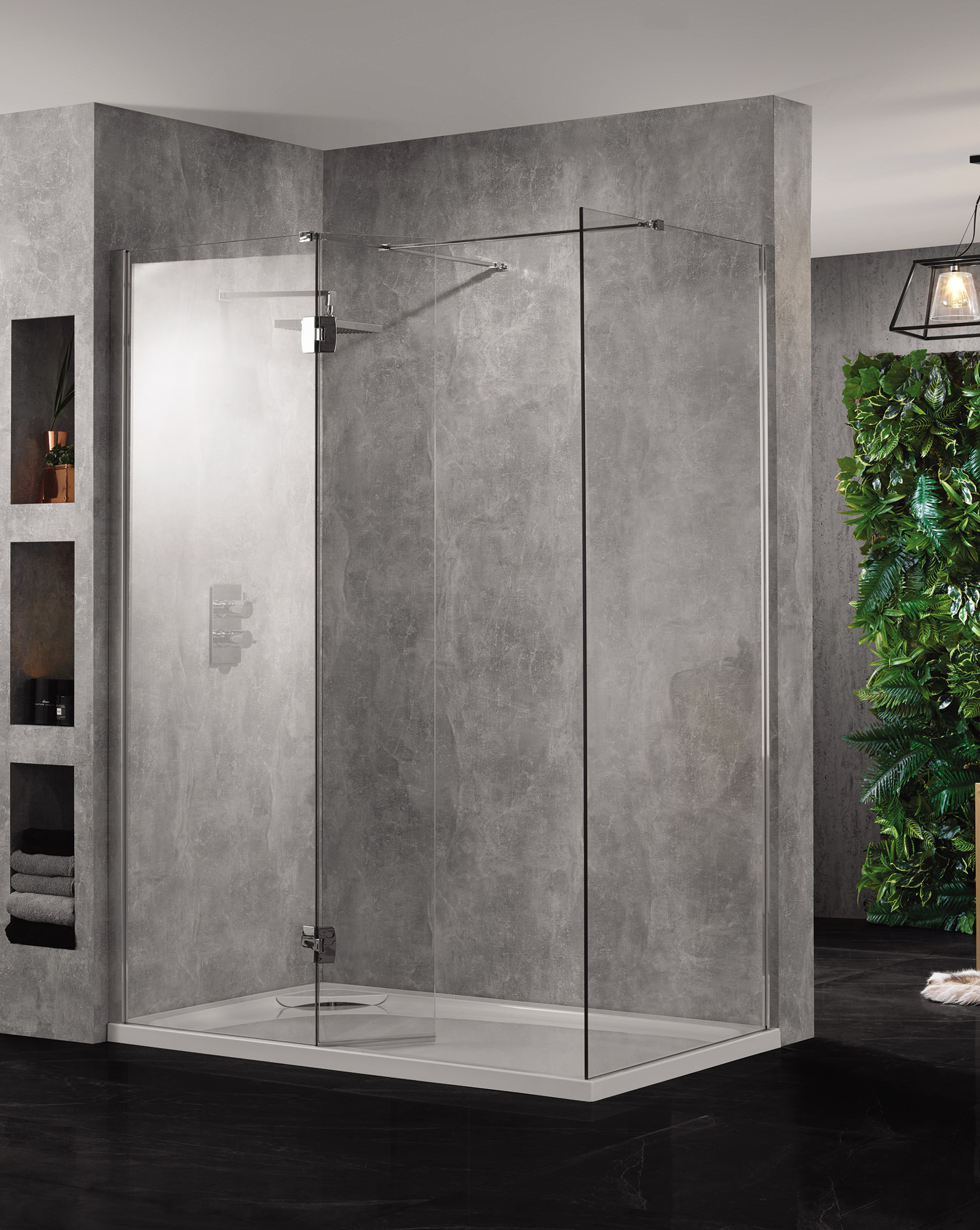 Aquadart wetroom 10 walk in 900mm clear glass shower panel Shower glass panel