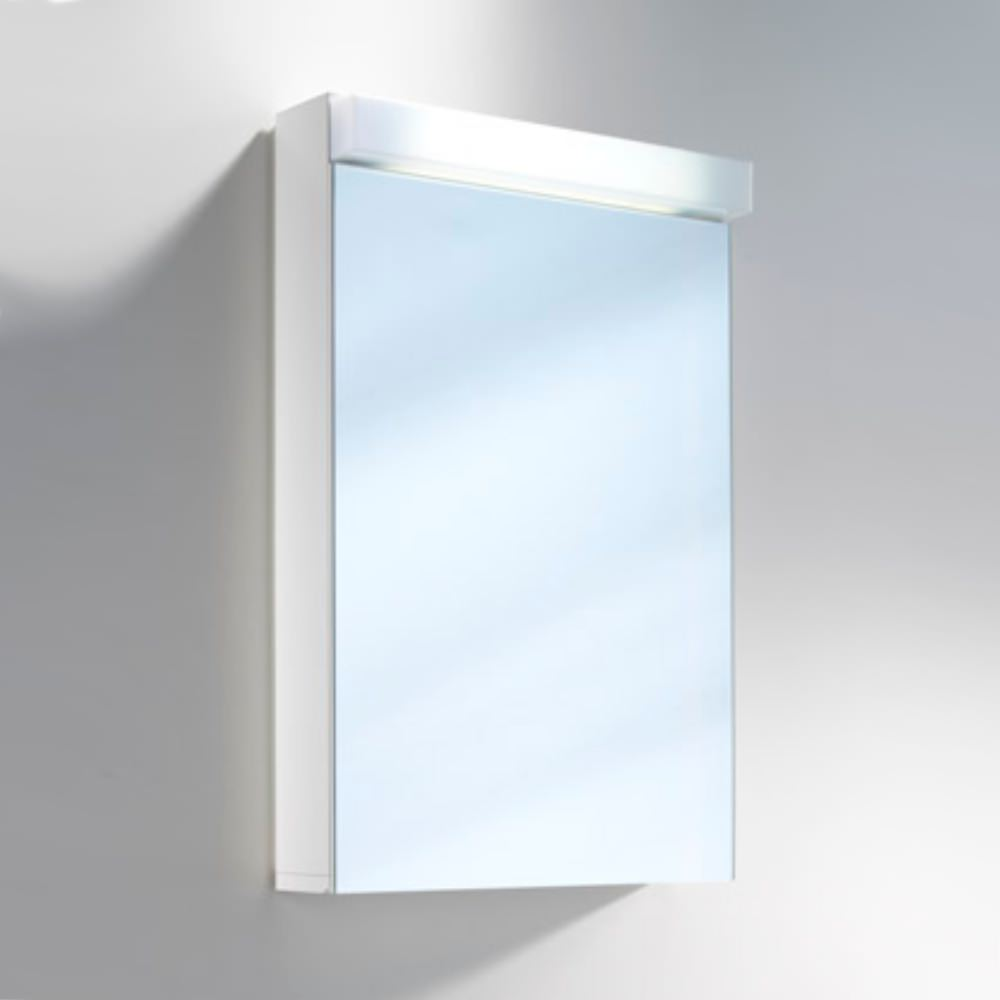 Schneider lowline 50cm 1 door mirror cabinet with led light for Door with light