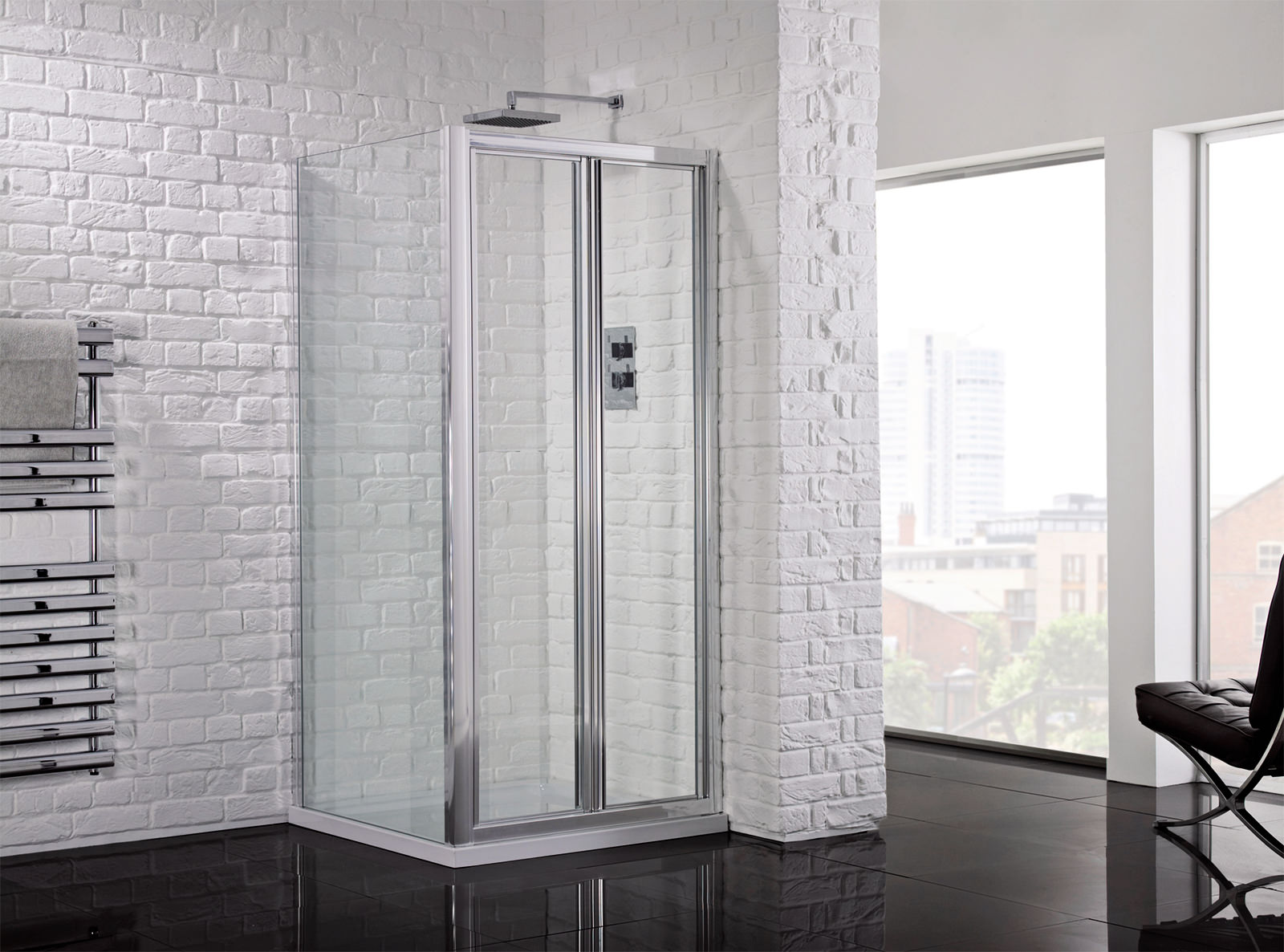 Aquadart venturi 6 1000mm framed bifold shower door aq9318s for 1000mm shower door