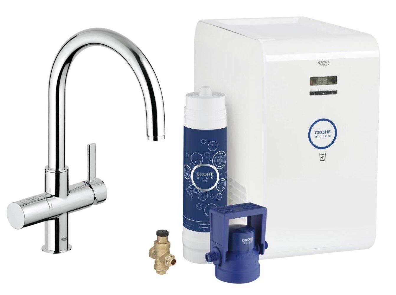 grohe blue single lever c spout kitchen sink mixer tap chrome 31382000. Black Bedroom Furniture Sets. Home Design Ideas