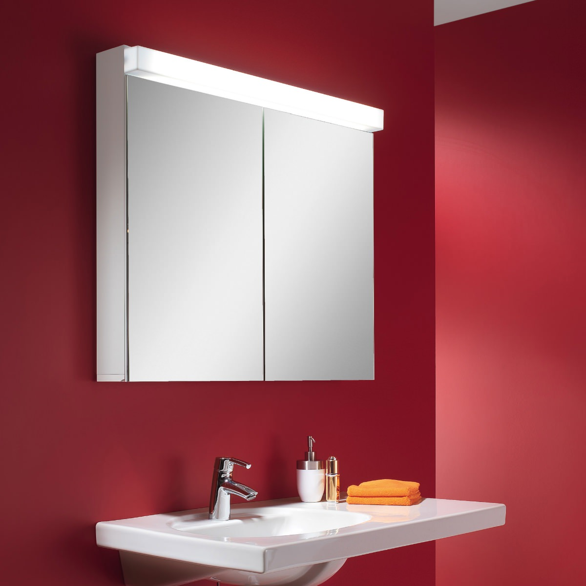 Schneider Lowline 90cm 2 Door Mirror Cabinet With Led Light